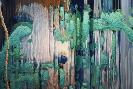 Darío Urzay. Serie Phaistos. Técnica mixta sobre madera de 2011 con un tamaño de 273 x 180 cm.