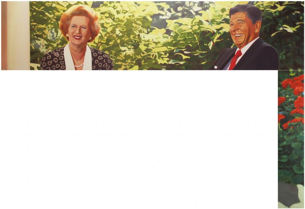 !!(Margaret Thatcher y Ronald Reagan, en la Casa Blanca en Washington), 2014. Óleo sobre tela. 45x197cm/90x17cm. Medidas totales 135x197 cm.