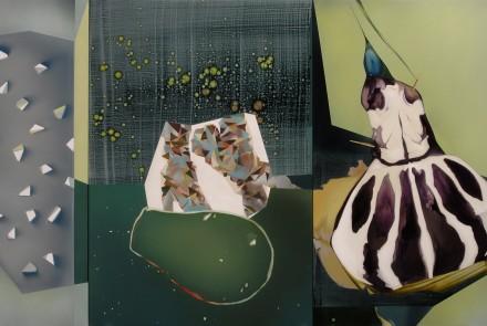 Sumergido en vida y sumergido en muerte, 2014  Acrílico sobre lienzo 197 x 350 cm.