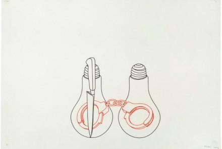 Michael Craig-Martin. Bulds, knife, handcuffs, 1992. Dibujo sobre papel de 58.8 x 84.1 cm.