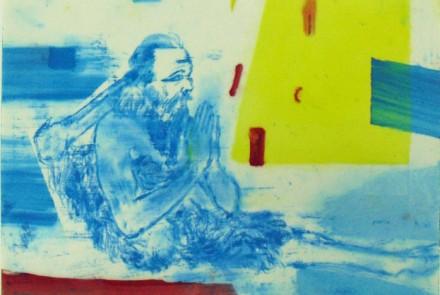 Leon Golub: SatyrYoga III, 2004. Pastel y tinta sobre papel, 20 x 25 cm