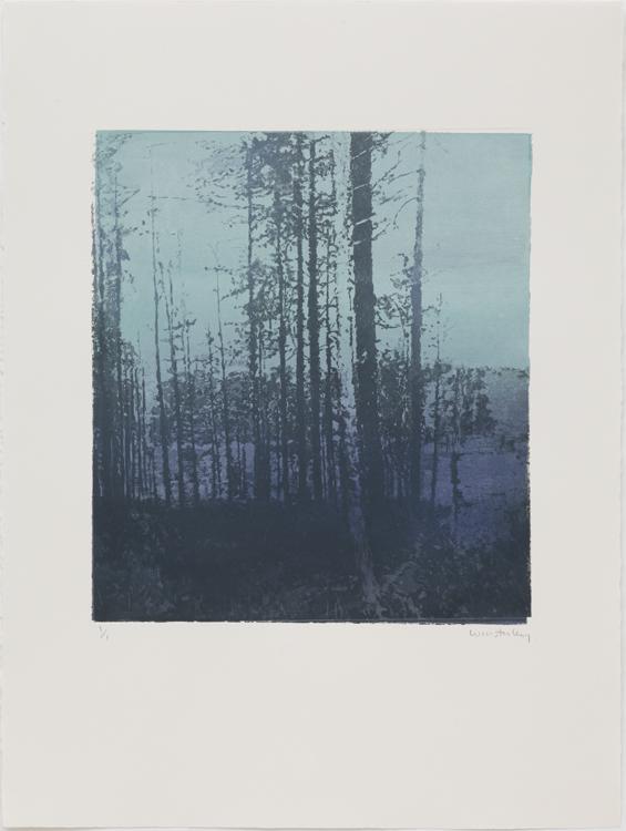 Paul Winstanley: Landscape N. 42, 2010. Aguatinta iluminado a mano con acrílico, monotipo, 64,8 x 56 cm