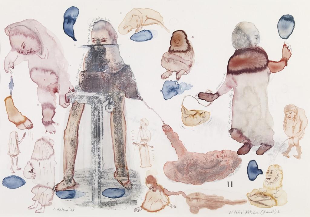 Witches Kitchen (Faust) I 2008 Transfer, acuarela y lápiz sobre papel