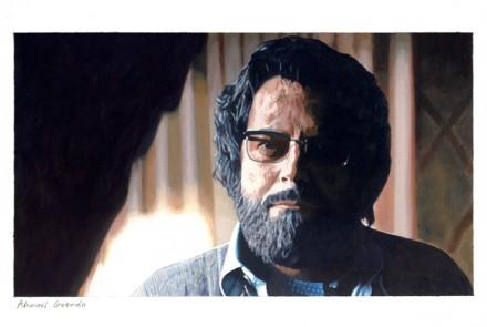Miguel Aguirre: Abimael Guzmán, 2008. óleo sobre papel, 34,6 x 48,5 cm