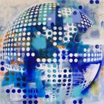Esfera Azul, 2016. Óleo y acrílico sobre lienzo. 200 x 200 cm.