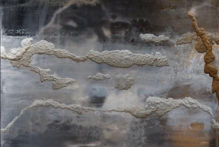 En una fracción (Frost frames) I. Mixta sobre aluminio. 150 x 122 cm.